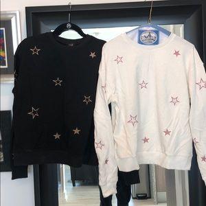 Tops - Black w/gold star & white w/pink star sweatshirts